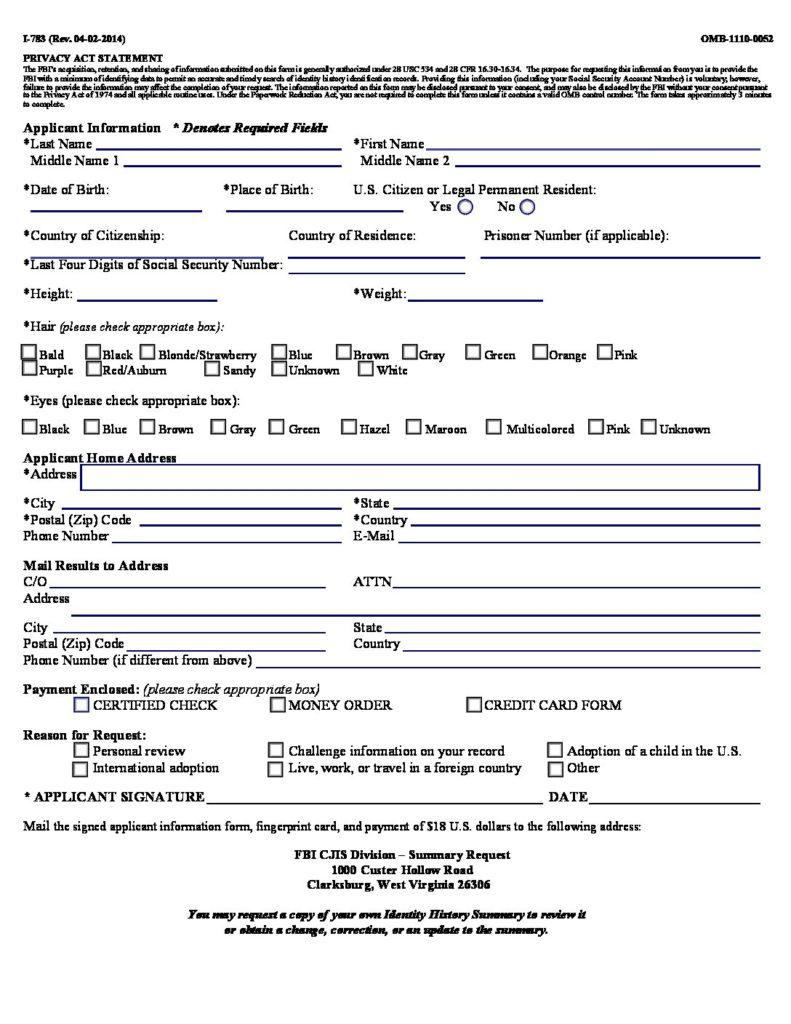 Fbi Personal Request Form Fingerprinting Express Live
