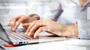 Woman at Keyboard with Digital Overlay