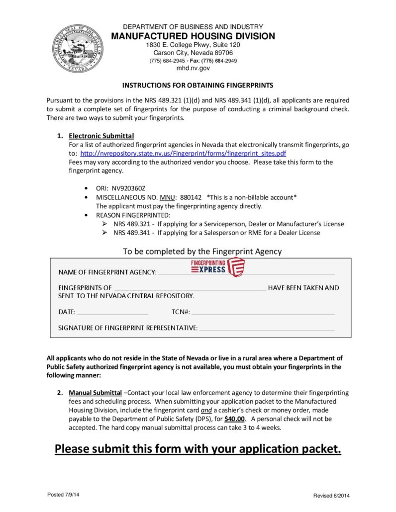 Nevada Manufactured Housing Division Fingerprint Livescan Form